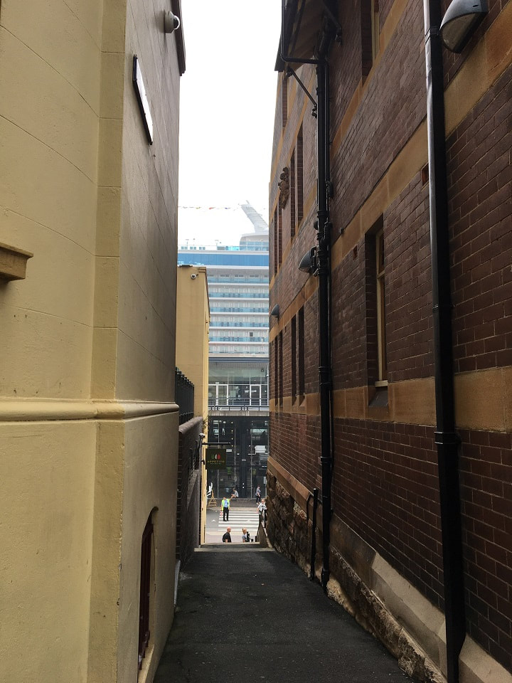 Inner city Melbourne alley of bricks and concrete