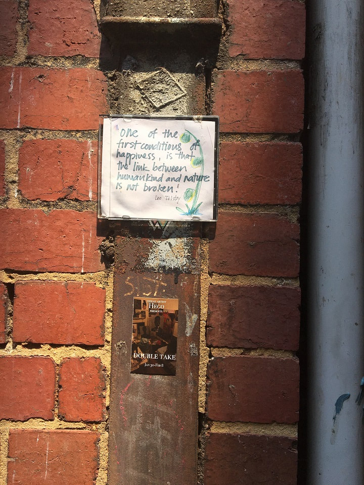 Inner city Melbourne alley with Leo Tolstoy quote (one of the first conditions of happiness, is that the link between humankind and nature is not broken) in CD case
