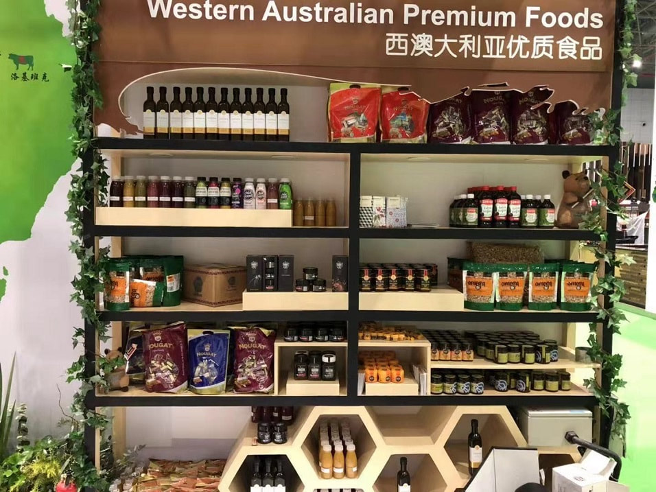 A shelf of Western Australian products at China CIIE