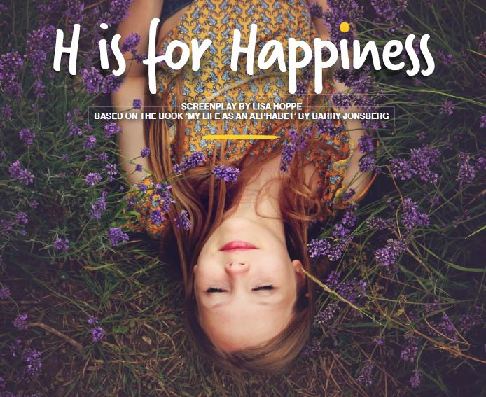 Poster for H is for Happiness Movie with girl lying in purple flowers