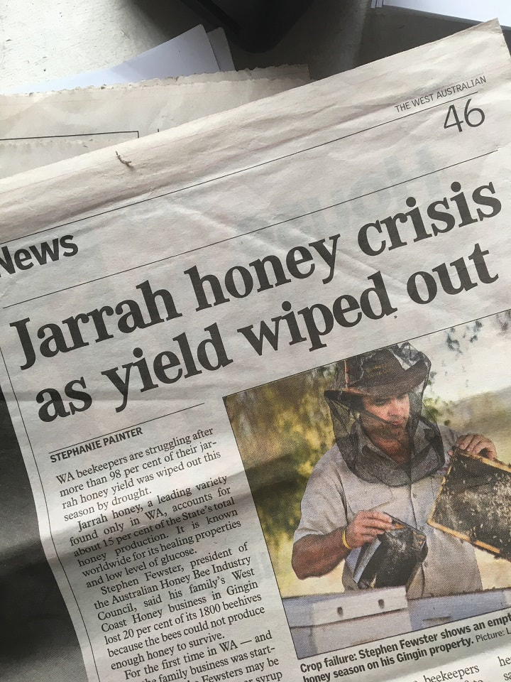 Photo of newspaper cutting with heading 'Jarrah Honey Crisis as Yield wiped out' and picture of beekeeper