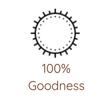 100% goodness with sun icon