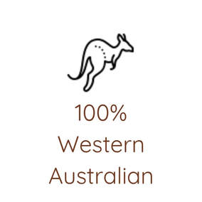 Kangaroo line drawing with 100% Western Australia wording